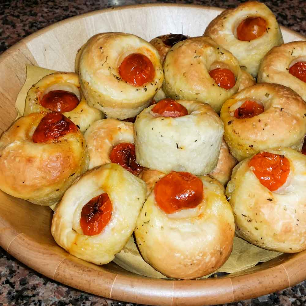 Little bread dough with tomatoes